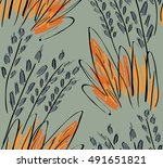rough sketched grass on green...   Shutterstock .eps vector #491651821