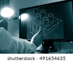 designer working on a cad... | Shutterstock . vector #491654635