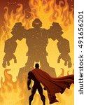 superhero facing giant evil... | Shutterstock .eps vector #491656201