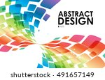 colorful curve abstraction on... | Shutterstock .eps vector #491657149