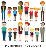young and old people on white... | Shutterstock .eps vector #491657245
