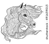 Hand Drawn Doodle Horse Face...