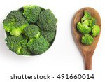 Broccoli Into A Bowl Isolated...