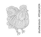 rooster zentangle on white...   Shutterstock .eps vector #491661424
