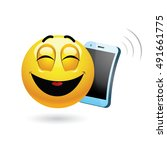 smiley talking on a phone.... | Shutterstock .eps vector #491661775