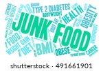 junk food word cloud on a white ... | Shutterstock .eps vector #491661901
