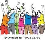 group of happy people... | Shutterstock .eps vector #491663791
