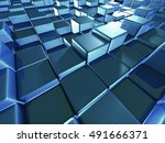 abstract glass cubes blocks... | Shutterstock . vector #491666371