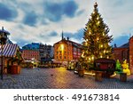 christmas market and the main... | Shutterstock . vector #491673814