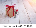 model of cardboard house with... | Shutterstock . vector #491694091