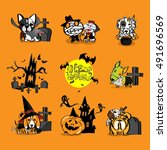 halloween puppy dressed as a... | Shutterstock .eps vector #491696569