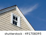 house peak with tan wooden... | Shutterstock . vector #491708395