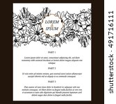 invitation with floral... | Shutterstock . vector #491716111