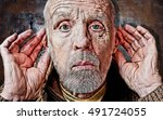 hear no evil grunge portrait | Shutterstock . vector #491724055