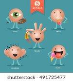 educational cartoon characters... | Shutterstock .eps vector #491725477