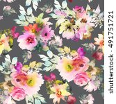 seamless pattern with flowers... | Shutterstock . vector #491751721
