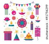 diwali hindu festival flat... | Shutterstock .eps vector #491756299