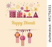 diwali hindu festival greeting... | Shutterstock .eps vector #491756311