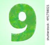 number 9 color green crystal...   Shutterstock .eps vector #491758021