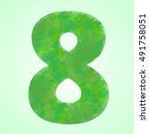 number 8 color green crystal...   Shutterstock .eps vector #491758051