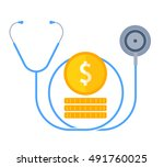 the stethoscope and money.... | Shutterstock .eps vector #491760025