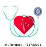 the stethoscope and a heart... | Shutterstock .eps vector #491760031