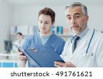 doctor and practitioner... | Shutterstock . vector #491761621
