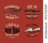 vintage style tee print vector... | Shutterstock .eps vector #491762569