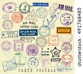 vector document stamp set.... | Shutterstock .eps vector #491768485