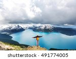 hike to turquoise waters of...   Shutterstock . vector #491774005