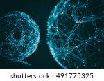 futuristic virtual connection... | Shutterstock . vector #491775325