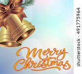 merry christmas lettering with... | Shutterstock .eps vector #491775964