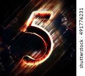 red light digit 5 | Shutterstock . vector #491776231