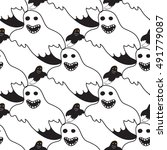 halloween seamless pattern with ... | Shutterstock .eps vector #491779087