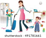 busy mother and children. | Shutterstock .eps vector #491781661