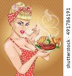 pop art woman with food plate.... | Shutterstock .eps vector #491786191