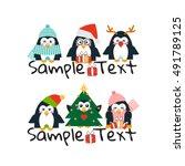 cute penguins christmas... | Shutterstock .eps vector #491789125