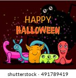 halloween greeting card with... | Shutterstock .eps vector #491789419