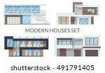 modern houses set  real estate... | Shutterstock .eps vector #491791405