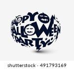 happy halloween party greeting... | Shutterstock .eps vector #491793169