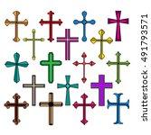 christian crosses icon set on... | Shutterstock .eps vector #491793571