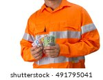 supervisor or work man with... | Shutterstock . vector #491795041