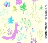 cute animals in forest....   Shutterstock .eps vector #491800471