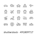 simple set of public transport... | Shutterstock .eps vector #491809717