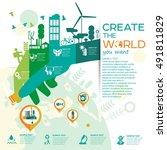 smart city vector illustration... | Shutterstock .eps vector #491811829