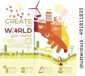 smart eco city vector... | Shutterstock .eps vector #491811835