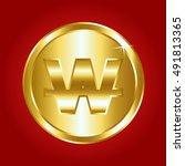 gold coin. illustration... | Shutterstock .eps vector #491813365