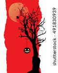 the pumpkin is hanging on the... | Shutterstock .eps vector #491830939