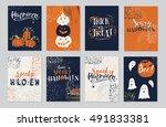 vector halloween greeting card  ... | Shutterstock .eps vector #491833381