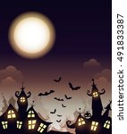 vector happy halloween poster... | Shutterstock .eps vector #491833387